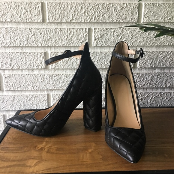 Charlotte Russe Shoes - Charlotte Russe Black quilted chunky heels size 7